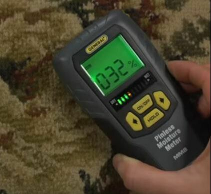 Moisture Meter Checks Humidity of Carpet Hero Mold Removal VA